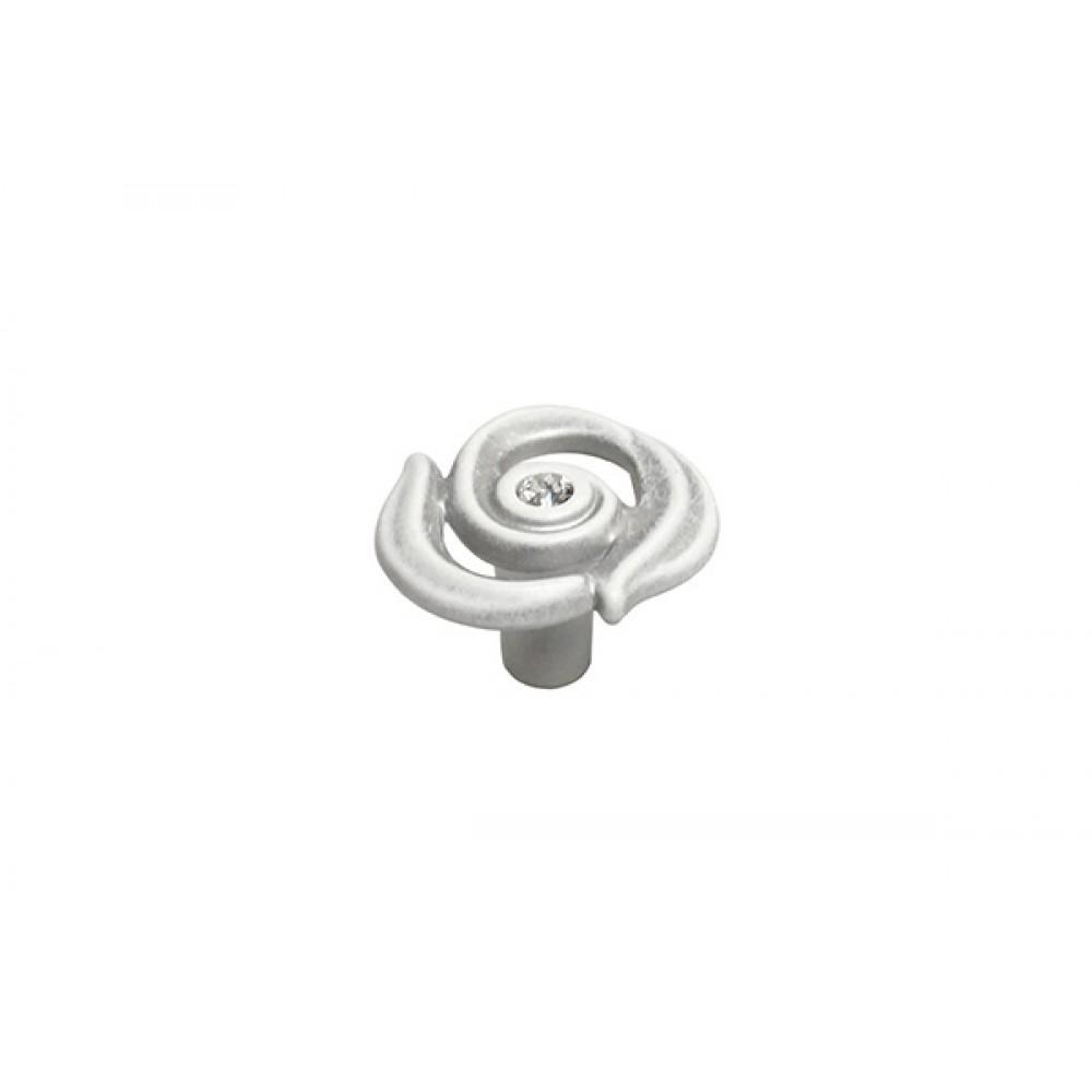 Ручка-кнопка, отделка серебро винтаж + горный хрусталь
